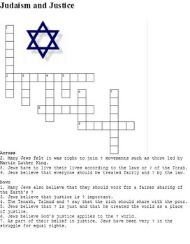 Judaism (Jewish) Crosswords for Religious Studies - Pack of 7
