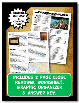 Judaism History, Beliefs, and Practices Close Reading and Graphic Organizer