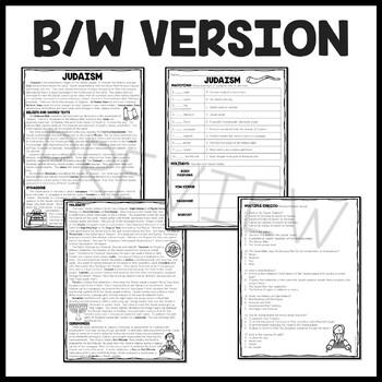 Judaism Reading Comprehension Worksheet World Religions Jewish