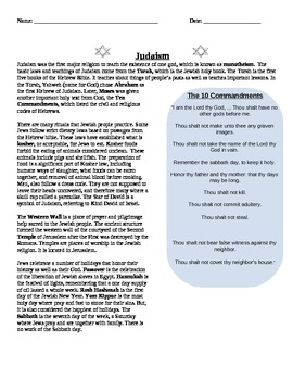 Religions: Judaism and the 10 Commandments reading summary