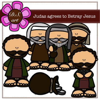 Judas Agrees to Betray Jesus Digital Clipart (color and black&white)
