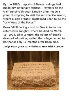 Judge Roy Bean Handout with activities