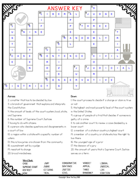 Judicial Branch Crossword by Bow Tie Guy and Wife | TpT
