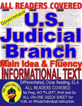 Judicial Branch Supreme Court CLOSE READ 5 LEVEL PASSAGES Main Idea Fluency TDQs