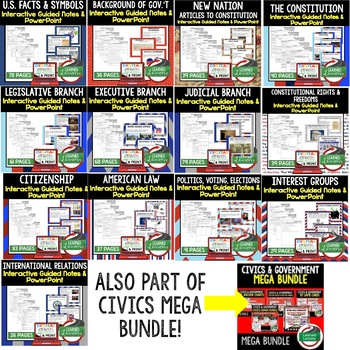 Judicial Branch Guided Notes and PowerPoints BUNDLE, Google & Print