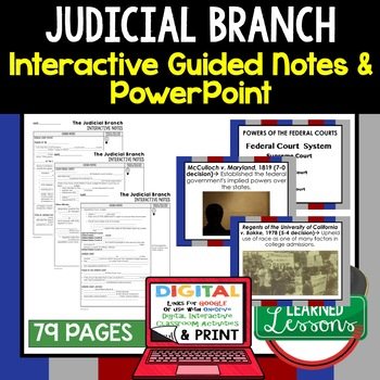 Judicial Branch Guided Notes and PowerPoint, Google & Print