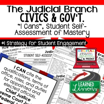Judicial Branch I Cans & Posters, Self-Assessment of Mastery, CIVICS