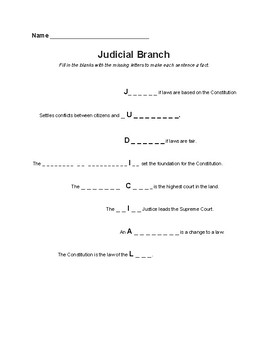 Judicial Branch Info Sheet