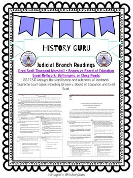 Judicial Branch, Supreme Court, and Major Court Case Bellwork