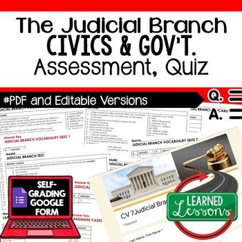 Judicial Branch Test, Judicial Branch Quiz, Civics Assessment