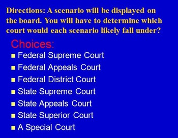 Judicial Branch – Where Would the Case Go? Scenario Review Game (Civics)