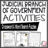 Judicial Branch of Government Crossword Puzzle and Word Search Find Activities