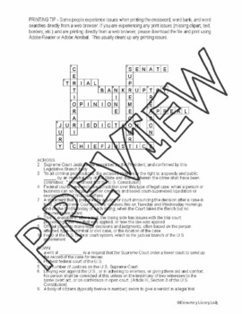 Judicial Branch of Government Activities Crossword Puzzle and Word Search  Find