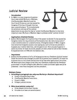Judicial Review - Informational Text Test Prep