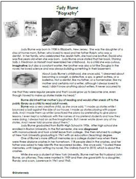 Judy Blume Author Study, Biography, Reading Response Activities, Projects, More!