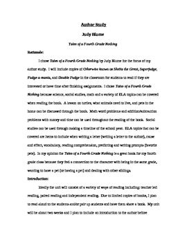 Judy Blume Author Study - Focus on Tales of a Fourth Grade Nothing