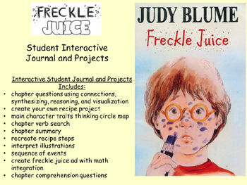 Judy Blume Freckle Juice Student Interactive Journal and Projects
