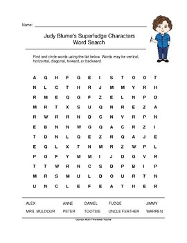 Judy Blume's Superfudge Characters Word Search (Grades 3-5)