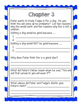 Judy Blume's Tales of a Fourth Grade Nothing Comprehension Questions