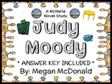 Judy Moody (Megan McDonald) Novel Study / Reading Comprehension : Book #1