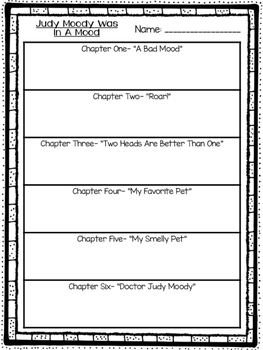 Judy Moody Book Outlines and Graphic Organizers