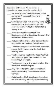 Judy Moody Book Quiz Whiz (Megan McDonald) Novel Study  (25 pages)