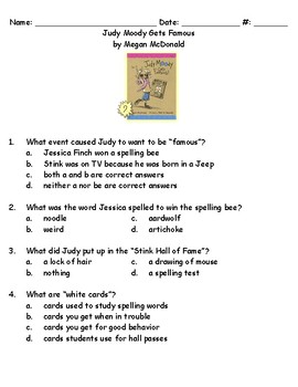 Judy Moody Gets Famous book test and key