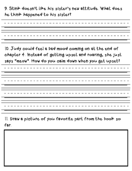 Judy Moody Mood Martian Review Questions Ch.1-4