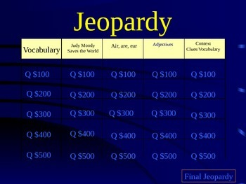 Judy Moody Saves the World! Jeopardy Review