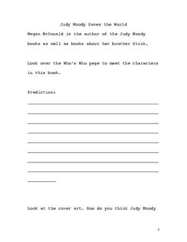 Judy Moody Saves the World Novel Unit