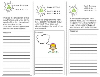 Judy Moody Saves the World Trifold/ 3rd Grade Joruneys HMH Common Core