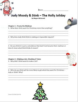 Judy Moody & Stink - The Holly Joliday Question & Answer Sheets