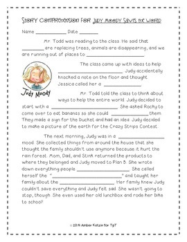Judy Moody Supplemental Activities 3rd Grade Journeys Unit 4, Lesson 16