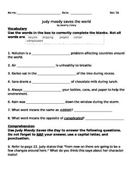 Judy Moody Test for 3rd Grade Journeys