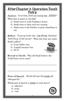 Judy Moody, Tooth Fairy (Megan McDonald) Novel Study / Comprehension (19 pages)