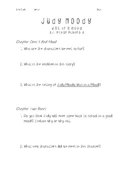 Judy Moody Was In A Mood - Book Study
