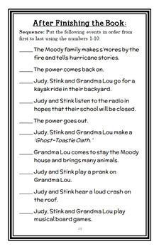 Judy Moody & Stink: The Big Bad Blackout (Megan McDonald) Novel Study