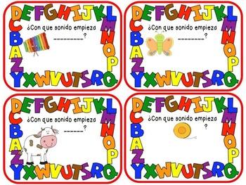 Four Corners: Spanish Alphabet Initial Sounds - Cuatro Esquinas