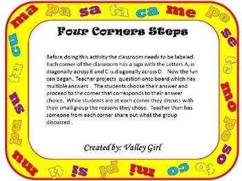 Four Corners: Spanish SyllablesM, P, S, T y C- Cuatro Esquinas