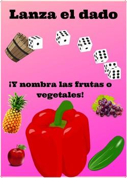 Juego: Lanza el dado y nombra a las frutas o vegetales