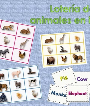 Juego Loteria de Animales En Inglés Para Imprimir
