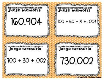 Juego Memoria Decimales en Notación Desarrollada y Estándar 5.nbt.3