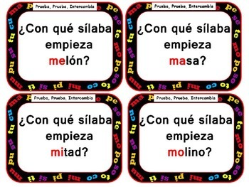Quiz,quiz, trade: Spanish Syllables M, P ,S, T y C Words Only