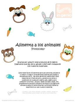Juego bilingüe Alimenta a los animales Bilingual sorting game Feed the animals