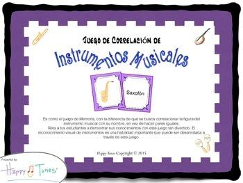 Juego Correlación Instrumentos Musica en Español Spanish M