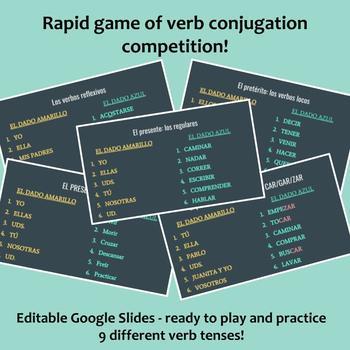 Juego de Dados / Spanish verb conjugation review game (9 tenses!)