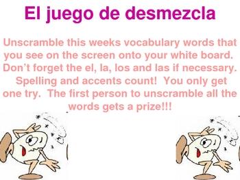 Juego de Demezcla - School Vocabulary