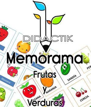 Juego de Memorama Frutas y Verduras para Niños