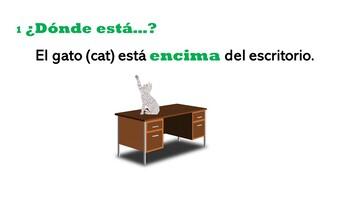 Juego de Preposiciones Realidades 1 2B (preposition game with white boards)
