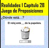 Juego de Preposiciones Realidades 1 2B (white board game)